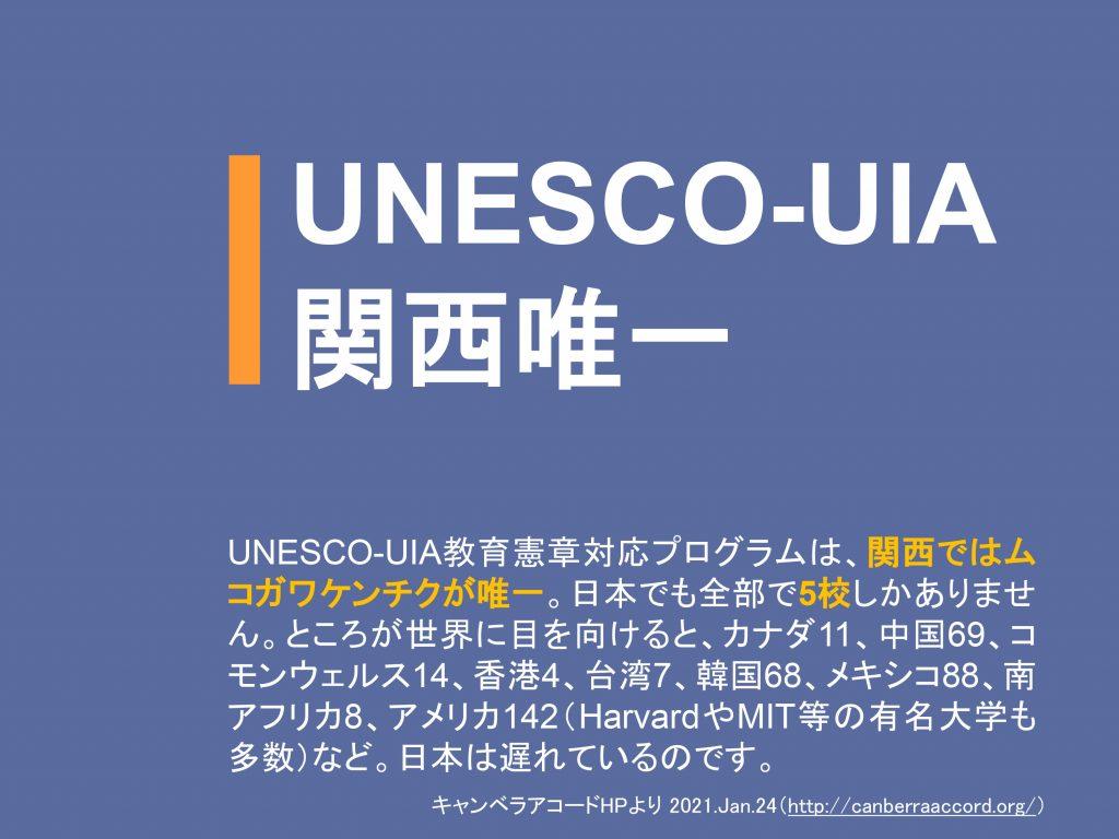 【UNESCO-UIA関西唯一】UNESCO-UIA教育憲章対応プログラムは、関西ではムコガワケンチクが唯一。日本でも全部で5校しかありません。ところが世界に目を向けると、カナダ11、中国69、コモンウェルス14、香港4、台湾7、韓国68、メキシコ88、南アフリカ8、アメリカ142(HarvardやMIT等の有名大学も多数)など。日本は遅れているのです。